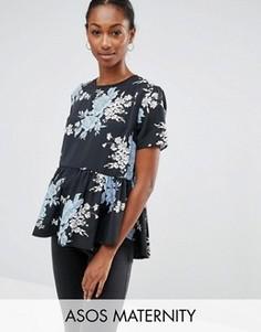 Темно-синяя футболка с цветочным принтом для беременных ASOS Maternity - Мульти
