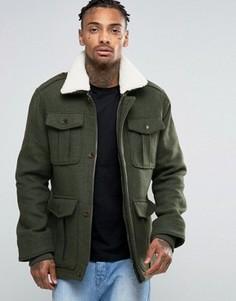 Куртка с 4 карманами и воротником Borg Threadbare - Зеленый