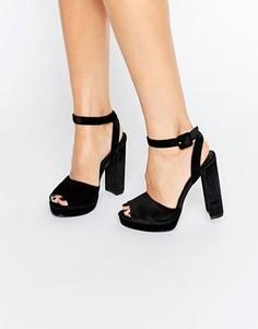 Бархатные сандалии на платформе Truffle - Черный