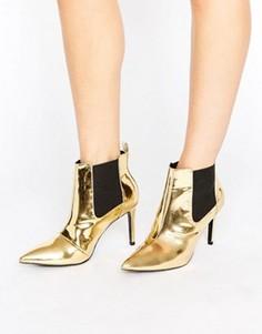 Золотистые зеркальные полусапожки на каблуке Office Angles - Золотой