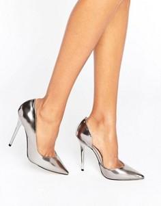 Зеркальные туфли-лодочки оловянного цвета Office Shadow - Серебряный