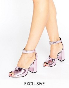 Розовые зеркальные сандалии на каблуке Office Stella - Розовый