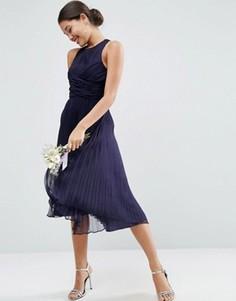 Платье миди с плиссировкой ASOS WEDDING - Темно-синий