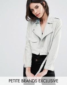 Байкерская куртка из искусственной замши эксклюзивно для Missguided Petite - Серый
