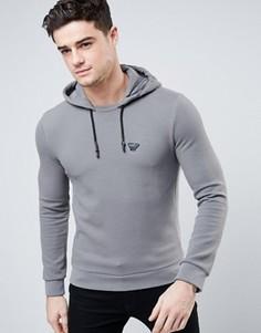 Узкое серое худи через голову из вафельного трикотажа Armani Jeans - Серый