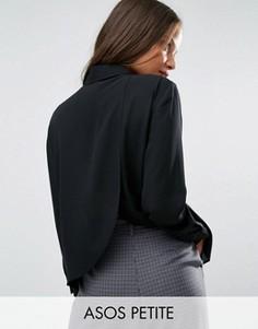 Блузка с запахом на спинке ASOS PETITE - Черный