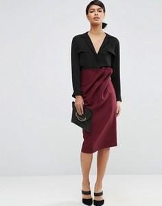 Фактурная юбка‑карандаш со свободной талией ASOS - Фиолетовый