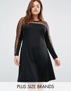 Платье-трапеция с сеточкой в горошек Junarose - Черный