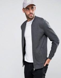 Темно-серая трикотажная куртка‑пилот ASOS - Серый