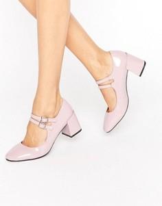Розовые лакированные туфли на среднем каблуке Glamorous Mary Jane - Розовый