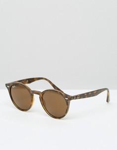 Солнцезащитные очки в круглой черепаховой оправе Ray-Ban 0RB2180 - Коричневый