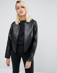 Кожаная куртка с заклепками в стиле 80-х ASOS - Черный