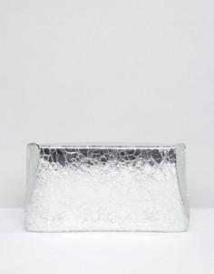 Клатч с геометрическим принтом и отделкой металлик ASOS - Серебряный