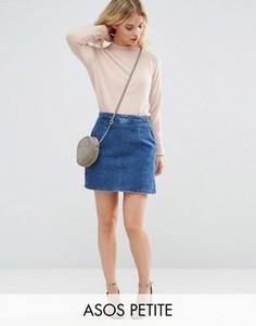Синяя джинсовая юбка-трапеция ASOS PETITE - Синий