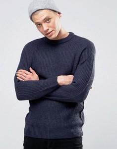 Джемпер в крупный рубчик с круглым вырезом D-Struct - Темно-синий