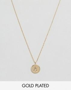 Позолоченное ожерелье с инициалом А от Orelia - Золотой