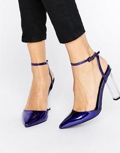 Туфли на прозрачном каблуке с острым носом ASOS PAOLO - Синий