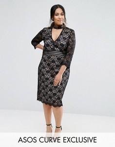 Кружевное платье мини ASOS CURVE - Мульти
