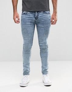 Голубые джинсы скинни с эффектом кислотной стирки Loyalty & Faith - Синий