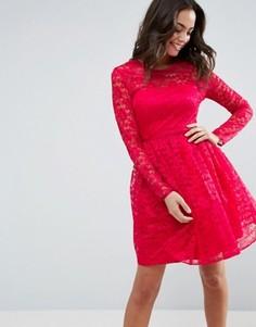 Кружевное платье мини для выпускного ASOS - Розовый