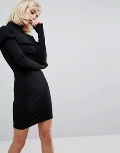 Облегающее платье мини с оборками Fashion Union - Черный