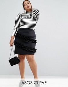 Мини-юбка с двойными рюшами ASOS CURVE - Черный