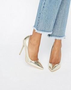 Золотистые туфли-лодочки Public Desire Josie - Черный