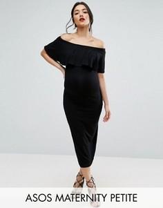 Платье-футляр миди с оборкой ASOS Maternity PETITE - Черный