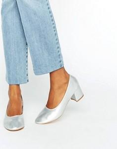 Серебристые туфли на среднем каблуке Daisy Street - Серебряный