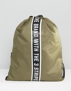 Зеленый рюкзак на шнурке с отделкой лентой Adidas Originals AY9001 - Зеленый