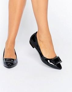 Черные остроносые туфли на плоской подошве Daisy Street - Черный