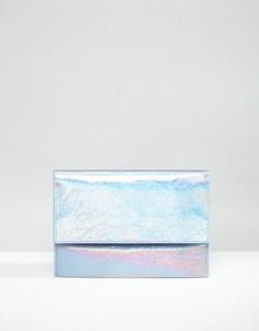 Клатч металлик с клапаном и эффектом трещин ASOS - Синий
