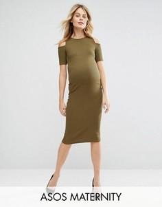 Облегающее платье в рубчик с открытыми плечами для беременных ASOS Maternity - Зеленый