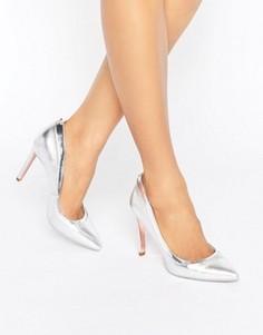 Серебристые кожаные туфли-лодочки Ted Baker Sayu - Серебряный