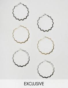 Набор сережек-колец волнистой формы из металла разных цветов DesignB London - Золотой