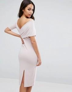 Креповое асимметричное платье миди с перекрестной спинкой ASOS - Розовый