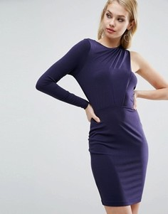 Креповое платье мини с вырезом на одной стороне ASOS - Темно-синий