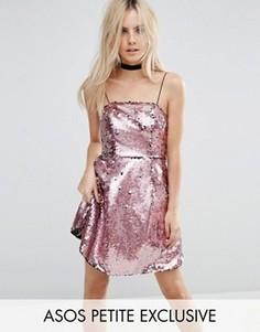 Розовое платье мини для выпускного с пайетками ASOS PETITE - Розовый