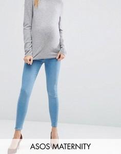 Выбеленные джинсы скинни с посадкой под животом ASOS Maternity Ridley - Синий