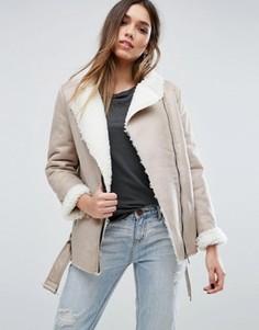 Байкерская куртка с подкладкой из овечьей шерсти Missguided - Серый