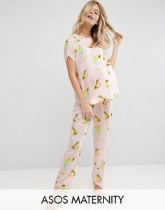 Пижамный комплект для беременных с принтом лягушек ASOS Maternity - Мульти