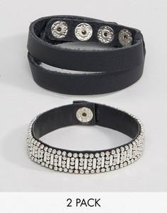Набор из 2 кожаных браслетов с заклепками ASOS - Черный