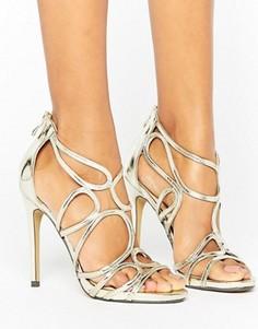Золотистые сандалии на каблуке с вырезами True Decadence - Золотой