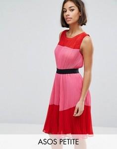 Платье в стиле колор блок со складками ASOS PETITE - Мульти