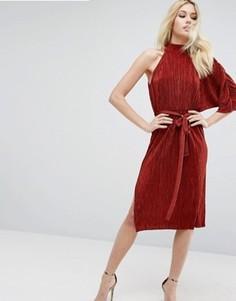 Плиссированное платье миди на одно плечо ASOS - Коричневый