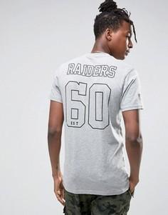 Футболка с принтом Raiders сзади New Era - Серый