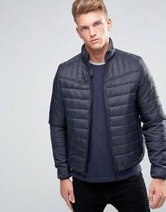 Стеганая куртка с воротником-стойкой Threadbare - Темно-синий