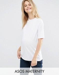 Футболка на одно плечо с вырезами для беременных ASOS Maternity - Белый