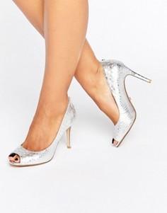 Туфли-лодочки цвета металлик с открытым носком Dune Dinaa - Серебряный