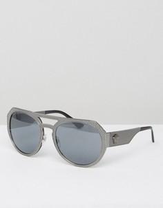 Круглые солнцезащитные очки Versace - Серебряный